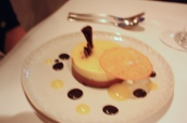 Dark chocolate mousse with orange and vanilla bavarois
