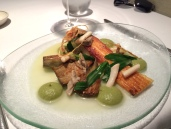 Cornish skate with razor clams, St George, baby artichokes, fennel purée and sea aster