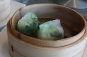 Steamed Seafood Dumplings with Preserved Egg, Chinese Spinach and Garlic