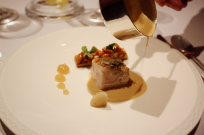 Fish Course - Roast Cornish John Dory, Fricassee of Scottish Girolle Mushrooms, Morteau Sausage, Lancashire Mead Sauce