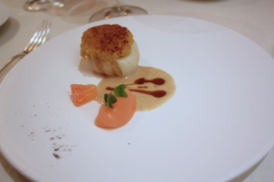 Starter 3  - Grilled Hand Dived Isle of Skye Scallops, Pork Pie Sauce, Pink Grapefruit Gel