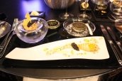 Le Caviar de Sologne Salmon tartar with shiso sprout; Fine coral jelly with anise cream; Fried quail egg, crispy toast