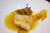 Pan-fried amadai fillet with crispy skin, saffron broth and endives