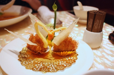 Crispy Duck & Abalone Croquettes shaped as a Swan