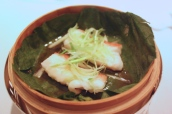 Steamed Star Garoupa Fillet with Ginger and Spring Onions in Bamboo Baske