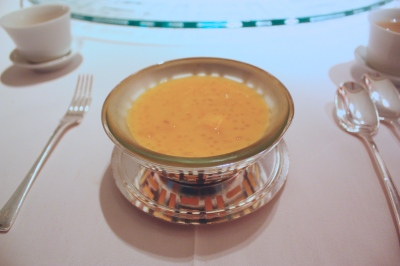 Chilled Mango and Sago Cream with Pomelo