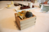 Squid Ink Sphere with celeriac & black truffle; Pumpkin Cracker with puree and toasted seeds