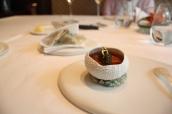 Hokkaido sea urchin in a langoustine jell-O with cauliflower, caviar crispy seaweed waffles