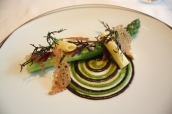 Jérôme Galis Green Asparagus in Vintage Sherry Dressing, Asparagus & Winter Truffle Coulis
