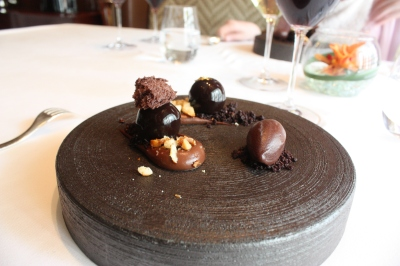 Dulcey chocolate, spheres coated in manjari 64% chocolate with salted & caramelized macadamia nuts & cocoa sorbet
