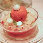 strawberries with Prosecco jelly, mint and lime granita, strawberry ...