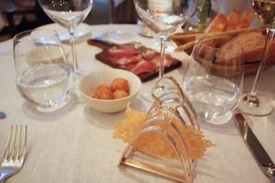 Canapes - Parmesan crisps, Truffle & Mozarella Arancini, Coppa di Parma, Bread Basket