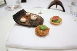 Canapes - Squid Ink Cracker with Taramasalata, Rabbit Kromenski, Smoked Pea Tartlet