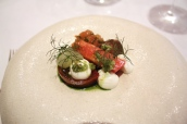 """Tomatoes"" Black Iberico, Raf and Camone with Fresh Curd and Olives"