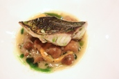 Flame Grilled Mackerel with St Austell Bay Mussels, Grelot onions, Mousserons and Lovage