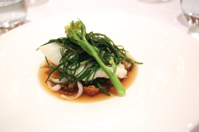 Cornish Day Boat Turbot with Matured Nameko Mushrooms, Samphire, Line Caught Squid and Konbu Dashi