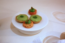 Canapé 3 & 4 - Gluten Free Blue Cheese Sable with Broccoli; Broad Bean & Mint Tartlet