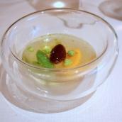Spring Vegetables Dumpling, Obsiblue Prawn Consommé