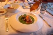 Lobster, leek and potato purée, lobster foam, spring salad