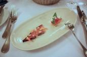 Amuse Bouche - Marinated salmon, red cabbage, roasted apricot, yogurt