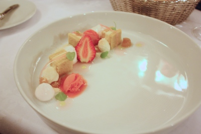 Rhubarb dessert, Rhubarb, goat cheese, strawberry sorbet