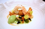 Seared langoustine with celeriac and liquorice