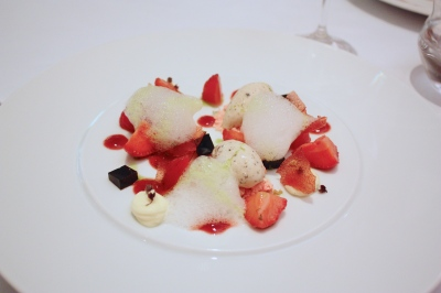 Marinated strawberries with black pepper ice cream