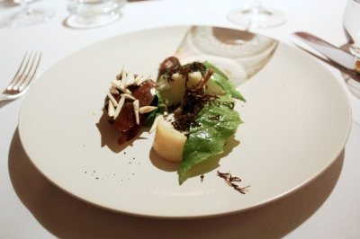 Glazed pigeon/ peach/ turnip/ truffle/ fresh almonds