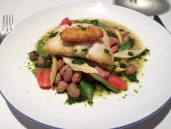 Cornish hake with borlotti beans, runner beans, morteau sausage and pistou