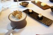 Canapes - Mushroom Beignet & Squid Ink Crackers