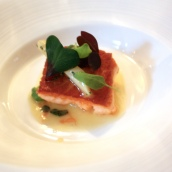 Fillet of Loch Duart Salmon with White Asparagus, Citrus Butter and Baby Sorrel