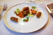 Tenderloin of Pork with White Anchovy, Hummus, Pork Cromesqui, Chickpea and Cumin Falafel