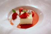 Baked Vanilla Cheesecake with Gariguette Strawberries, Wild Strawberry Sorbet and Lemon Verbena