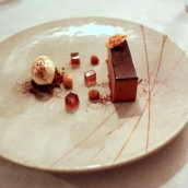 Valrhona Chocolate Mousse with Honeycomb, Peanut Ice Cream and Pedro Ximenez Jelly