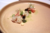 Langoustine ceviche, octopus pressee, avocado, smoked roe taramasalata, Belgian oscietra caviar, cucumber snow