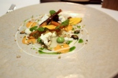 White beetroot, baked and smoked carrots, goast curd, pumpkin granola, watercress emulsion