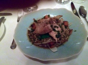 Roast partridge breast with butternut squash, pearl barley, Cévennes onion and mousseron