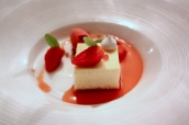 Baked Vanilla Cheesecake with Gariguette Strawberries, Wild Strawberry Sorbet and Lemon Verbena