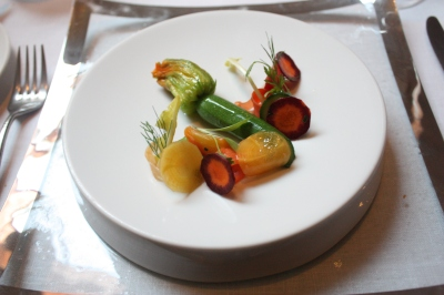 Stuffed Courgette Flower with Greek Yoghurt, Pickled Heritage Carrots, Beetroot and Dandelion