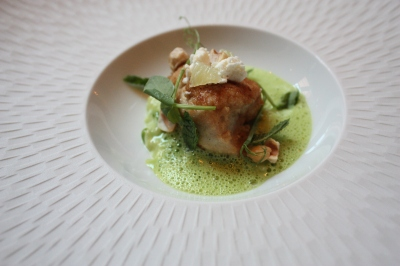 Caramelised Veal Sweetbread with Pea Risotto, Feta Cheese, Mint and Lime