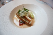 South-Coast Plaice with Poached Langoustines, Baby Fennel, Basil and Shellfish Bisque