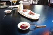 Sashimi of tuna sea herbs - sour soy sauce
