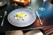 Cornish Crab, paprika honeycomb, Granny Smith apple & celeriac, brown crab toast