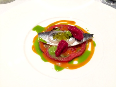 Lightly Pickled Fillet of Cornish Sardines with Late Summer Tomatoes, Green Olives and Basil