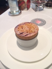 Damson Souffle with Wild Bay Leaf Ice Cream
