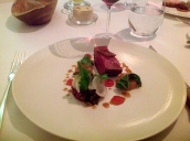Devon ruby beef/tartare/baby turnip/elderberry vinegar