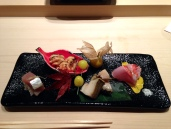 Osaka style Mackerel Sushi, Shirako, Awabi, Kinmedai