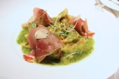 Snail ravioli, Bayonne ham & garlic croutons
