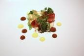 Tartare of tuna, puffed wild rice, compressed mooli, tosaka seaweed, mango cream, penny royal, ponzu dressing