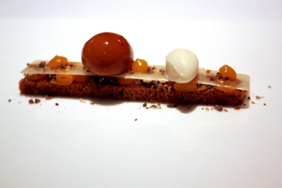 Confit pumpkin, ginger cake, stem ginger ice cream, coffee and cream, grue de cacao